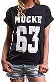 Mücke 63 - Damen Shirt große Größen Kurzarm lässig mit Aufdruck Oversize Top Boyfriend Spencer M