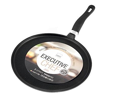 Home granchef crepiera antiaderente ex/chef un manico cm20 pentole e preparazione cucina, alluminio, nero, 20 cm