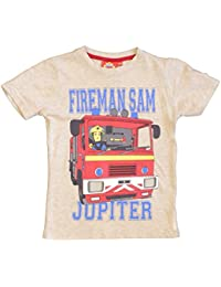 Official Licensed Fireman Sam Boys T-Shirt Top Beige Age 4 6 8