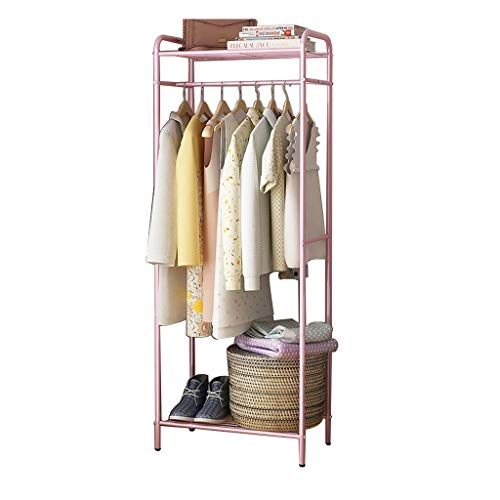 Coat Rack Einfache Boden Home Multifunktions-Raum Corner Hanging Bag Hanging Rack (Farbe : Pink)