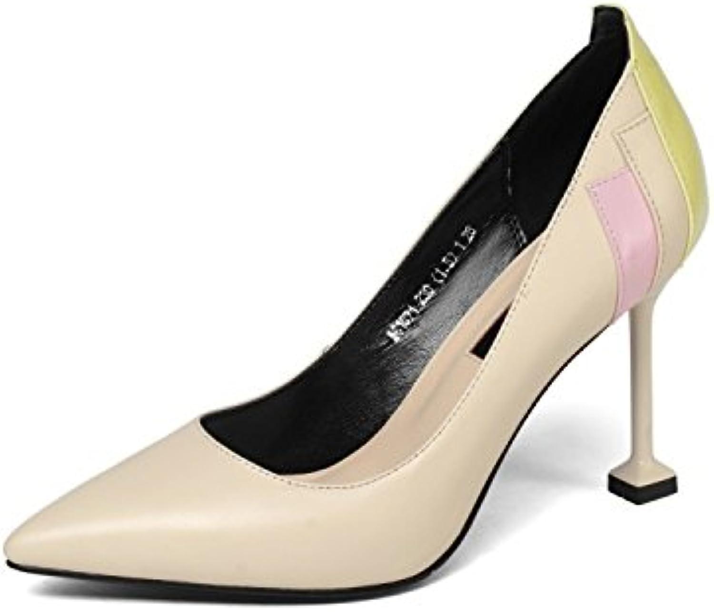 DKFJKI Cuir Femmes Chaussures Pompes Escarpins Talons Pointus Mode Mode Pointus Colorblock Robe Hauts Talons Smart Work Dolly...B07CHRK2GMParent acbadd