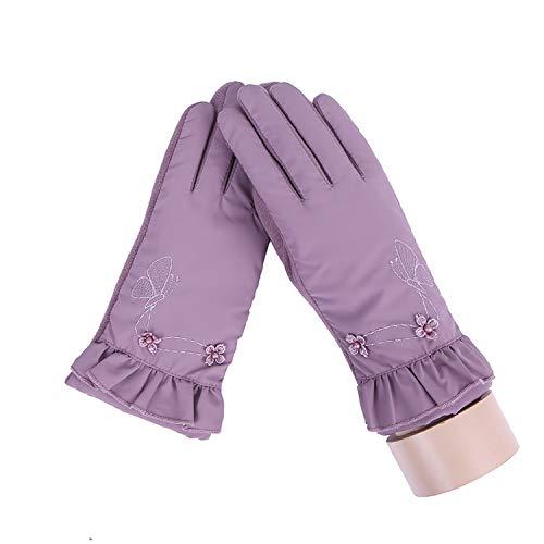 Small-shop-gloves Damen Winter-Handschuhe, weiches Plüsch-Innenfutter, warm, Winddicht, Blumen-Design, für Outdoor-Sportarten mit Touchscreen, 27E, Damen, E Bean Color, oneszie