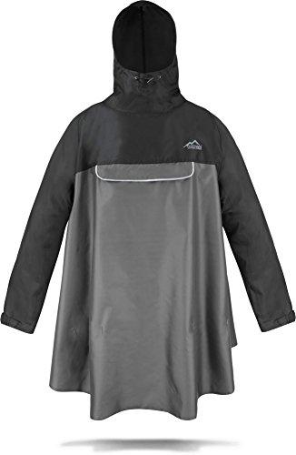normani Regenponcho mit Ärmeln und Brusttasche für Damen und Herren [S-3XL] -YKK Brusttasche und 3M™ Scotchlite™ Reflektor Farbe Schwarz/Grau Größe S/M