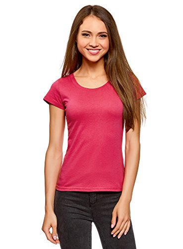 Oodji ultra donna t-shirt basic in cotone, rosa, it 42/eu 38/s