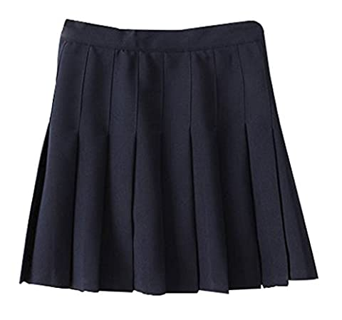 Yasong Women Girls Short High Waist Pleated Skater Tennis Skirt School Skirt Uniform With Inner Shorts Navy UK 12