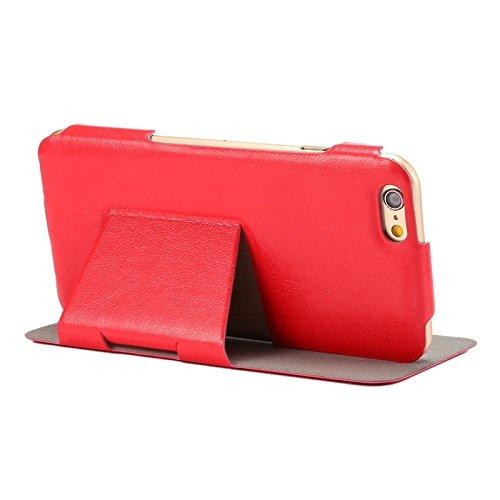 Wkae Case Cover Horizontal Flip Ultra Thin-Leder-Kasten mit Halter für iPhone 6 &6S ( Color : White ) Red