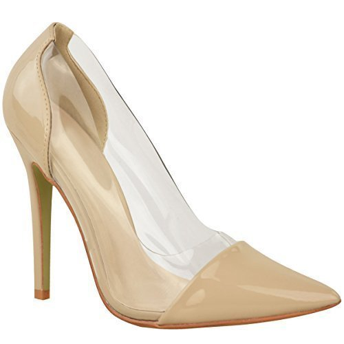 Donna Perspex Trasparente Tacco A Stiletto Sandali Da Cerimonia Slip-on Scarpe Décolleté Misura Color Carne Vernice