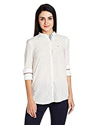 Tommy Hilfiger Womens Button Down Shirt (A6AJW001_Egret and Multicolor_L)
