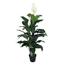 Nearly Natural Artificial Plants About 90cm Calla Lily Plant White Fake Flowers in Plastic Pot For Home Office Garden Décor – Artificial Tree