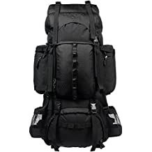 AmazonBasics Internal Frame Hiking Backpack with Rainfly, 75 L, Black