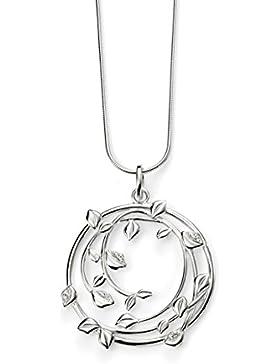 Elements Damen-Halskette mit Anhänger, Sterlingsilber, mit Pavé-Fassung, Blattdesign mit klaren Zirkoniasteinchen...