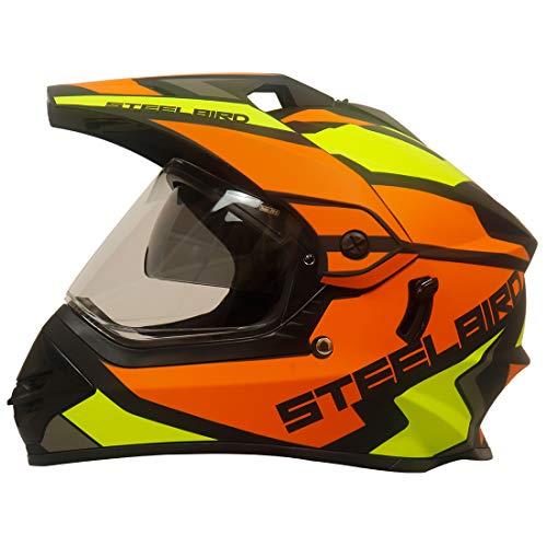 Steelbird SBH-13 Bang Silt Motocross Helmet in Matt Finish (Large 600MM, Matt Black/Orange with Plain Visor)