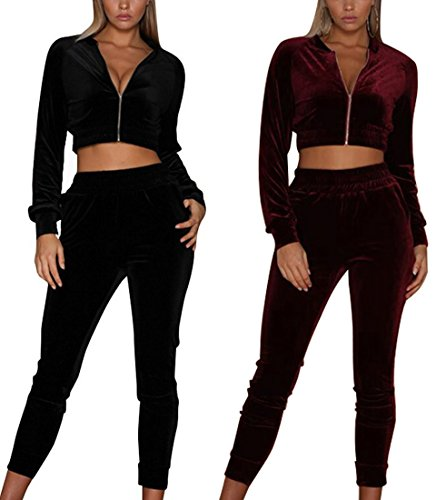 Minetom Femmes Velours Ensemble Survêtement Manche Longue Veste Blouson Sweat-Shirt à Capuche Jogging Pantalon Sports Suits 2pcs Noir