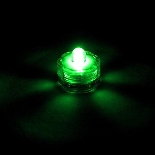 E-Goal - Velas sumergibles con Forma de Flor, Impermeables, LED, sin Llama, para Boda, Fiesta, Navidad, San Valentín, plástico, Verde, 12 Unidades