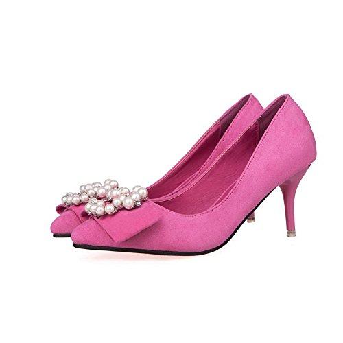 AalarDom Femme Suédé Couleur Unie Stylet Pointu Chaussures Légeres Cramoisi-Bijou