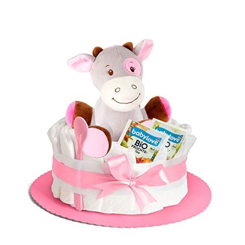 Windeltorte in Rosa mit Spieluhr von Homery, perfekt als Geschenk für Mädchen zur Baby-Party oder Geburt - Inklusive Glückwunschkarte, Bio Tee und Babylöffel - Handmade fair hergestellt