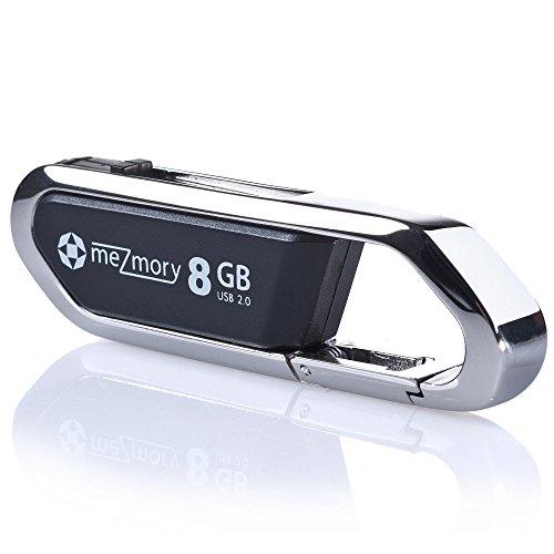 USB-Stick 8GB 2.0 Clip Karabiner ** Wasserdicht & Schnell ** Ideal für Schlüssel-Anhänger ** Extrem Robust aus Metall ** in Silber by mezmory