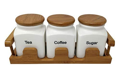 Cremefarbe-Keramik Tee Kaffe Zucker Glas Set mit Bambus Deckel und Halter