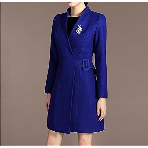 Moda las yardas grandes manga larga escudo de lana larga mujer de , blue , xl