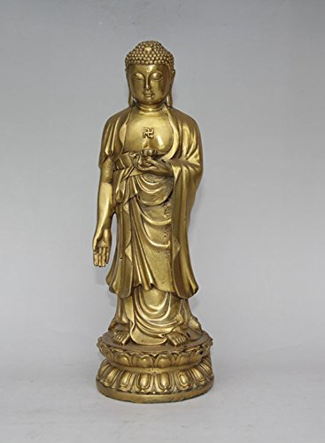 Sakyamuni Buddha-statue (Tibet Buddhismus reinem Messing Kupfer Tempel Ständer Sakyamuni Buddha Halt Lotus Statue)