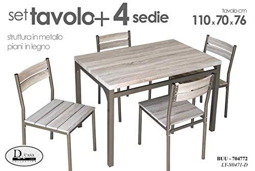 Tavolo Da Cucina Con 4 Sedie.Bakaji Set Tavolo Da Pranzo 4 Sedie In Stile Moderno Con