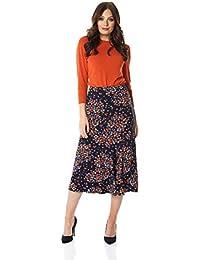 8c9be2453 Roman Originals Women Panel Ditsy Floral Skirt - Ladies Casual Everyday  Workwear Business Printed Elasticated Midi