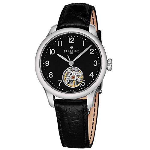 Perrelet Women's 35mm Black Alligator Leather Band Automatic Watch A2067-2