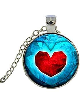 Charm Buddy Qualität Handgefertigt Zelda Herz Container Cabochon Anhänger Halskette