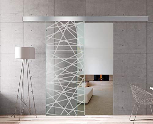 Modern glass art - porta scorrevole in vetro per interni design boss - diamond, 8 mm di spessore, vetro temperato di sicurezza, nano rivestito, raccordi in acciaio inox ss304, bianco