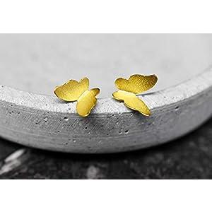 925 Sterling Silber vergoldete Ohrstecker SCHMETTERLINGE – Vergoldet – Matt und Handgebürstet -Verschluss mit Ohrstoppern
