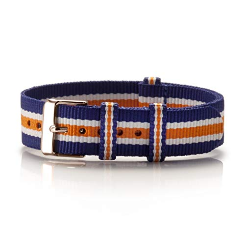 NATO Armband Textil Azul blau-weiß-orange Kupfer