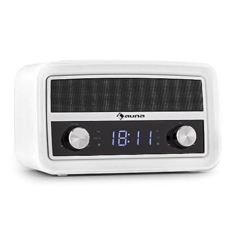 auna Caprice - Radio-réveil rétro avec Bluetooth, FM, USB pour recharge et port AUX - double alarme, fonction snooze, sleep-timer -