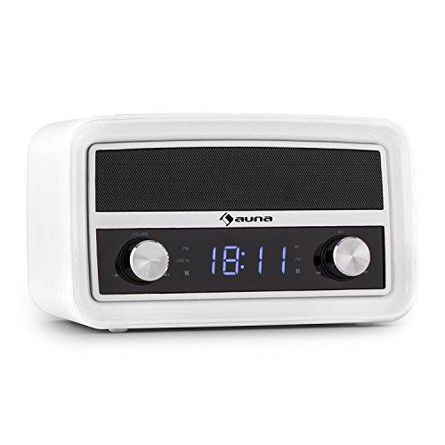auna Caprice WH Radio Despertador diseño Retro (Interfaz Bluetooth, conexión USB, Entrada AUX, sintonizador FM, Memoria 10 emisoras, Pantalla LED, Funcionamiento Red eléctrica o batería, Blanca)