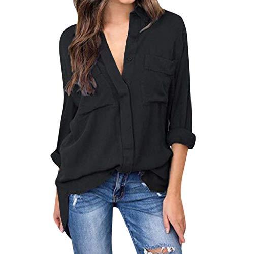 Michael Kostüm Office - TianWlio Frauen T-Shirt mit V-Ausschnitt Vintage Office Damen Solide Langarm Bluse Tops Schwarz XXL