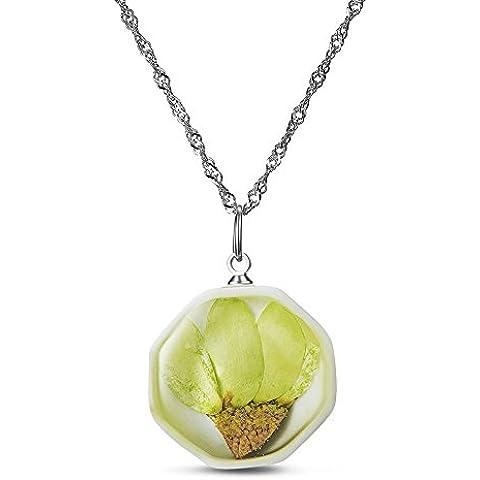 SWEETIEE collar de plata de ley mujer Octagon colgante de porcelana con amarillo y verde secas Sun Flower Platinum 450mm