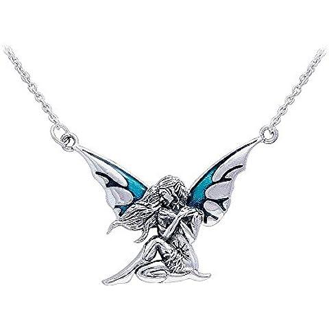 Tendencias de la joyería plata de ley azul esmaltado oscuro alas de hada colgante en Enlace Collar de cadena