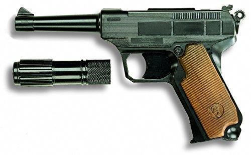 EDISON Giocattoli Lionmatic: Spielzeugpistole mit Schalldämpfer, für 13-Schuss-Munition, passend für das Polizeikostüm, 26.5 cm, grau (E0235/34)