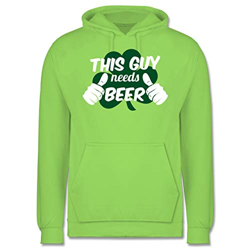 Guy Big Kostüm - St. Patricks Day - This Guy Needs Beer Kleeblatt - L - Limonengrün - JH001 - Herren Hoodie