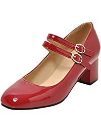 COOLCEPT Mujer Retro Tacón Ancho Zapatos Cómodo