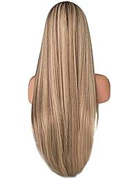 Peluca de la peluca pelo largo liso de fibra sintética resistente al Cebbay Peluca Cosplay Natural