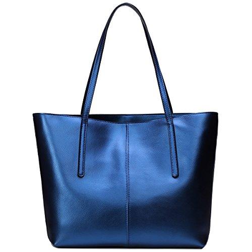 S-ZONE Morbida Genuine Leather Tote della maniglia di spalla delle donne del sacchetto di Fit 14 in computer portatile B-Blu