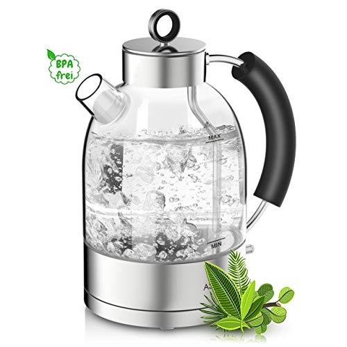 ASCOT Glas Wasserkocher-Wasserkocher Retro Elektrische Teekocher Kettle Schnelle Doppelheizung Wasserkessel BPA frei Lebensmittelqualität Material Glas Trockenlaufschutz Auto Herunterfahren 1,6L 2200W