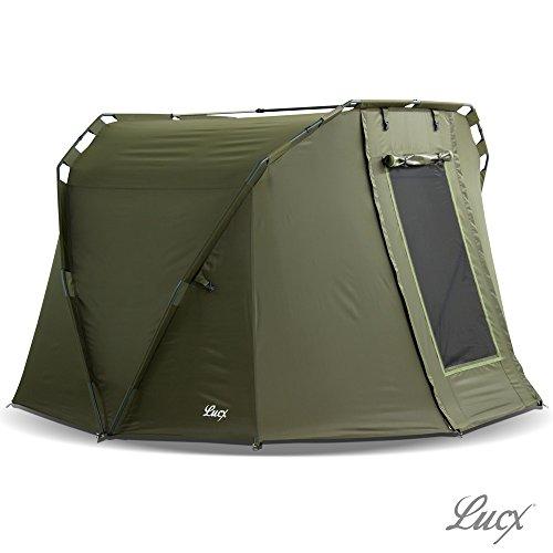 Lucx® Angelzelt Caracal / 1-2 Mann Bivvy / Karpfenzelt / Carp Dome / Zelt, 295x290x165cm, 10.000mm Wassersäule Campingzelt