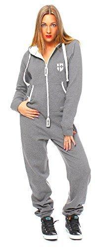 Hoppe Damen Jumpsuit Jogger Einteiler Jogging Anzug Trainingsanzug Overall (XS, hellgrau)