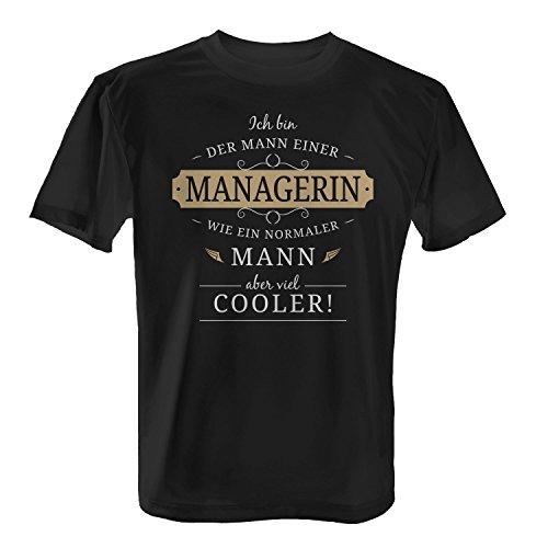 Fashionalarm Herren T-Shirt - Mann einer Managerin | Fun Shirt Spruch lustige Geschenk Idee verheiratete Paare Ehemann PR IT Account Management Schwarz