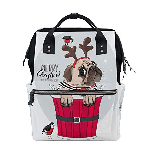 Weihnachten Hündchen Mops Große Kapazität Wickeltaschen Mama Rucksack Multi Funktionen Windel Pflegetasche Tote Handtasche Für Kinder Babypflege Reise Täglichen ()