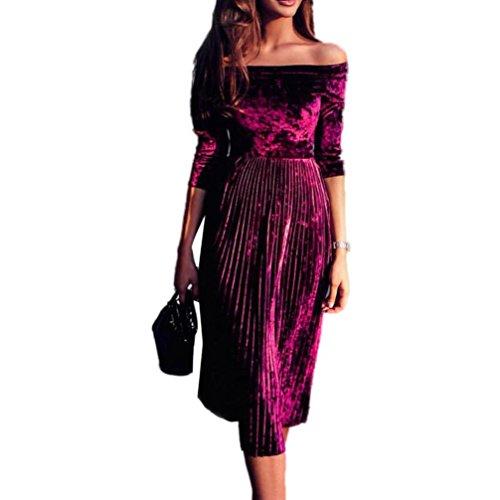 ZEZKTFashion Damen Trägerlos Split Maxikleid Samt Off Shoulder Lange Abendkleid Party Kleider Langarm Samt Velvet Vintage Elegant Cocktailkleid...