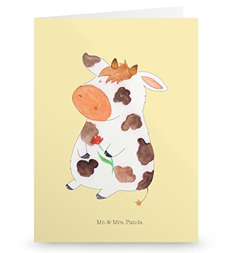 Mr. & Mrs. Panda Geburtstagskarte, Klappkarte, Grußkarte Kuh - Farbe Vintage - Grußkarten Kuh