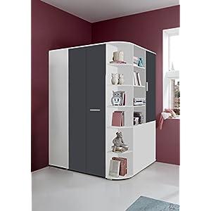 lifestyle4living Begehbarer Eckkleiderschrank in weiß, graue Falttür | Schlafzimmerschrank | Jugendzimmerschrank | Eckschrank