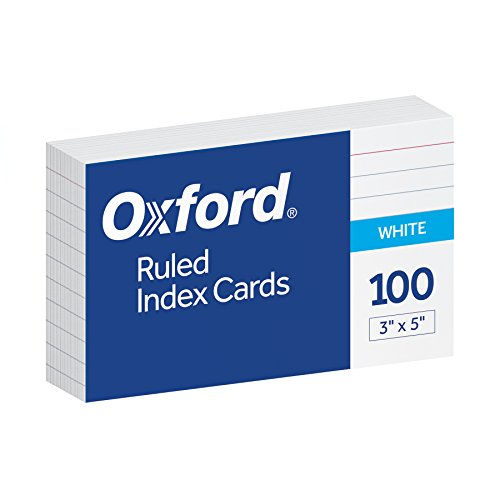 Oxford Index Cards 3X5 Ruled White - Oxford Flag